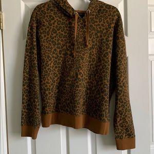 Sanctuary Hooded Brown leopard sweatshirt  M NWT